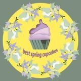 De lente cupcakes hand met bloemkader wordt getrokken voor winkel die Stock Afbeeldingen