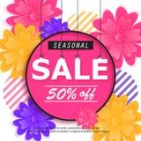 De lente, de banner van de de zomerverkoop met bloem royalty-vrije illustratie
