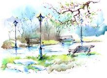 De lente in de Stad vector illustratie