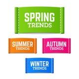 De lente, de zomer, de herfst en de wintertendensenetiketten Royalty-vrije Stock Fotografie