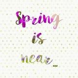 De lente is dichtbij conceptenachtergrond Stock Foto