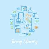 De lente die vectorconcept schoonmaken Stock Afbeelding