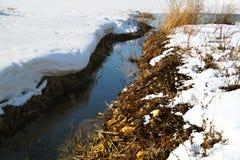 De lente en de winter op de rivier Stock Foto's