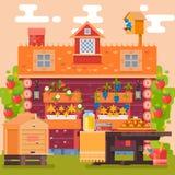 De lente en de zomer in dorpstuin Platteland Bloemen, vruchten, groenten Vector illustratie Royalty-vrije Stock Fotografie