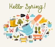 De lente en het tuinieren affichemalplaatje royalty-vrije stock foto's