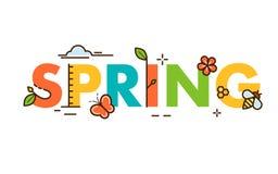 De lente in en minimalistic kaart of achtergrond Modern dun het ontwerpconcept van de contourlijn Vlak, overzicht Vector Royalty-vrije Stock Afbeelding