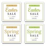 De lente en Pasen-het Malplaatjeachtergrond van de Verkoopbanner Vierkant frame Bon, vliegers, uitnodiging, affiches, brochure, c royalty-vrije illustratie
