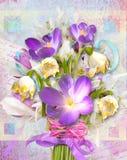 De lente feestelijke kaart met bloemensleutelbloemen en krokussen Royalty-vrije Stock Afbeeldingen