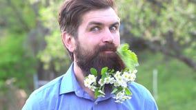 De lente gebaarde mens in bloeiende tuin De zomermens en grappig ogenblik Lange baard in bloemen Grappige baard - portret stock video