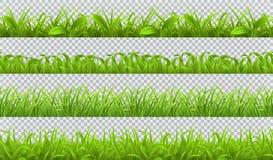 De lente groen gras, naadloos patroon 3d vectorreeks vector illustratie
