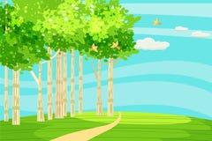 De lente groen landschap bij de rand van het bos, een heuvel De weg gaat in de afstand Het zingen van vogels Blauwe hemel royalty-vrije illustratie