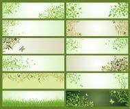 De lente groene decoratieve bloemenbanners royalty-vrije illustratie