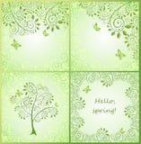 De lente groene decoratieve bloemenkaarten stock illustratie
