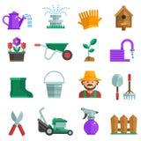 De lente het tuinieren geplaatste pictogrammen Royalty-vrije Stock Afbeeldingen