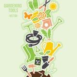 De lente het Tuinieren Hulpmiddelenreeks, Vectorillustratie Royalty-vrije Stock Foto's