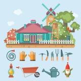 De lente het tuinieren vector vlakke illustratie met leuke het tuinieren Hulpmiddelen en tuingnoom Stock Foto's