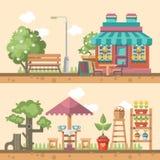 De lente het tuinieren vector vlakke illustratie in pastelkleuren met leuk koffie en tuinmeubilair Stock Foto