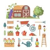 De lente het tuinieren vector vlakke illustratie in pastelkleuren met leuke het tuinieren Hulpmiddelen Stock Foto's