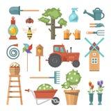 De lente het tuinieren vector vlakke vastgestelde illustratie in pastelkleuren met leuke bloemen Stock Afbeelding