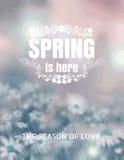 De lente is hier Typografisch Achtergrondonduidelijk beeld vectorformaat eps 1 Royalty-vrije Stock Foto's