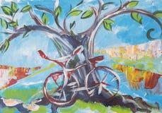 De lente in Holland, fiets Stock Foto