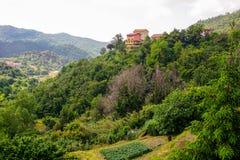De lente in Italië Gebouwen op de heuvel stock fotografie