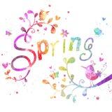De lente Kaart van de waterverf de bloemengroet met de Lente het van letters voorzien Ontwerp voor kaarten of notitieboekjedekkin Royalty-vrije Stock Foto's