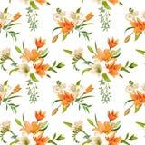 De lente Lily Flowers Backgrounds - Naadloos Bloemenpatroon vector illustratie