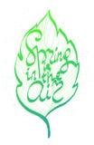 De lente is in luchtinkt hand het getrokken van letters voorzien royalty-vrije illustratie