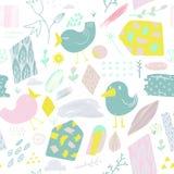 De lente Naadloos Patroon met Vogels en Bloemen Kinderachtige Abstracte Aardachtergrond voor Stof, Decoratie, Behang Royalty-vrije Stock Afbeelding