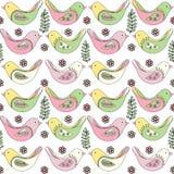 De lente naadloos patroon van multicolored vogels op een witte achtergrond stock illustratie