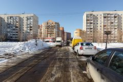 De lente in de stad van Balashikha, het gebied van Moskou, Rusland Stock Afbeelding