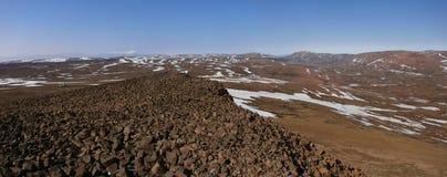 De lente in toendra (Panorama van Noord-Siberië) Stock Foto