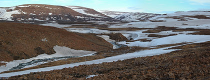 De lente in toendra (Panorama van Noord-Siberië) Royalty-vrije Stock Foto's