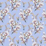 De lente, tot bloei komende pussy-wilg, waterverf Stock Foto