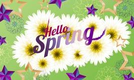 De lente van Hello van de groetkaart met sterren, bloemen Vector illustratie - Beelden vectorielles vector illustratie