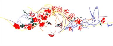 De lente van het meisje Stock Illustratie