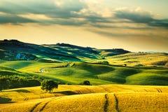 De lente van Toscanië, rollende heuvels op zonsondergang Volterra landelijke landscap Royalty-vrije Stock Fotografie