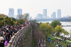 De lente van Xuanwu-Meer in Nanjing stock foto