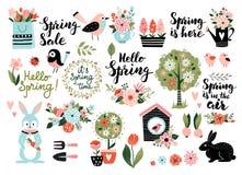 De lente vastgestelde vectorillustratie stock foto's