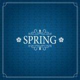 De lente Vector Typografische Affiche of het Ontwerp van de Groetkaart Mooie Vage Lichten met Bloem Royalty-vrije Stock Afbeeldingen