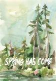 De lente is Vectorkaart gekomen Waterverf het Schilderen met Editablr-het Van letters voorzien Eps 10 Stock Afbeelding