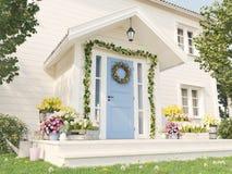 De lente verfraaide portiek met heel wat bloemen het 3d teruggeven Royalty-vrije Stock Foto