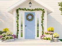 De lente verfraaide portiek met heel wat bloemen het 3d teruggeven Stock Foto