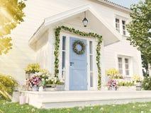 De lente verfraaide portiek met heel wat bloemen het 3d teruggeven Stock Afbeeldingen