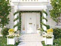 De lente verfraaide portiek met heel wat bloemen het 3d teruggeven Stock Afbeelding