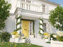 De lente verfraaide portiek met heel wat bloemen het 3d teruggeven Royalty-vrije Stock Fotografie
