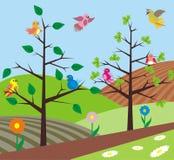 De lente - vogels het zingen Stock Fotografie