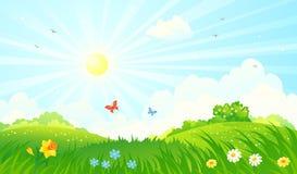 De lente zonnig landschap vector illustratie