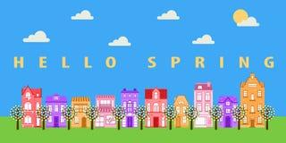 De lente zonnige straat royalty-vrije illustratie